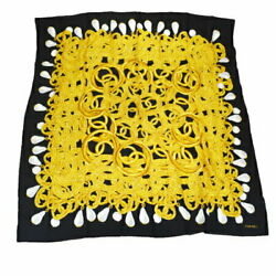 Large Size Scarf Coco Mark Accessory Pattern Black Silk 100 67bs357