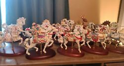 Vintage Lennox Carousel Horse Lot Of 14 Christmas Collectible Nice Porcelain