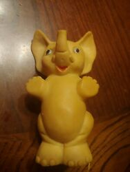 Vintage 4 Tall Baby Elephant Rubber Squeak Metal Stopper Squeaker Toy
