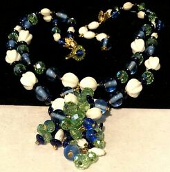 Rare Vintage Signed Miriam Haskell Blue Green Milk Glass 18x3 Dangle Necklace
