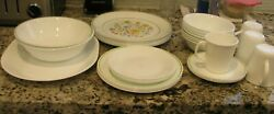 Vintage Corelle Weadow And White Coupe Dinnerware-30 Dishes Plus Serving Set