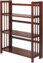 Casual Home 3-shelf 27.5 Wide Folding Stackable Bookcase Walnut New