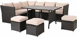 7 Pieces Outdoor Furniture Patio Wicker Rattan Sectional Sofa Set W/ Table Us