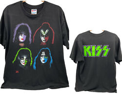 Kiss Faces Vintage Hanes T Shirt Size Xl 1991 Rock Express Double Sided Rare