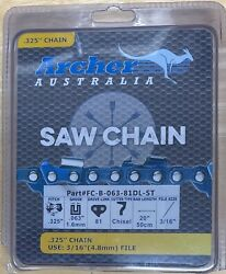 20 Archer Chainsaw Chain .325 .063 Gauge 81 Drive Links Full Chisel Skip-tooth