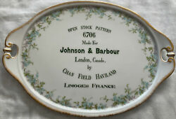 Rare Chas Field Haviland Limoges For Johnson And Barbour Canada Advertising Plate