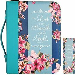 Large Leather Bible Cover Navy Floral 11x8.2x2.2 Zippered W/handle