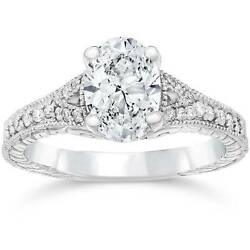 1 1/4ct Oval Diamond Vintage Engagement Ring Solitaire Antique 14k White Gold