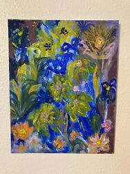 Original Floral Abstract Acrylic Painting Approximately 8andrdquox10andrdquo Canvas Board.andnbsp