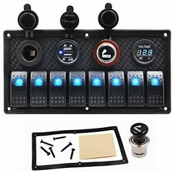 8 Gang Marine Switch Panel For Boat Rocker Toggle Switches Waterproof With