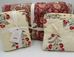 Pottery Barn Zarina Reversible Floral Queen Quilt W/ 2 King Shams Multi 9817