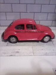 Vintage 1960s Taiyo Red Volkswagen Beetle Bug Battery Operated Kids Tin Toy Car
