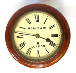 Antique 8 Inch Dial Mahogany Chain Fusee Wall School Clock Maple And Co London