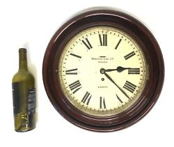 Large Antique Wall Clock With Cast Bezel And Bevelled Glass Bravingtons London