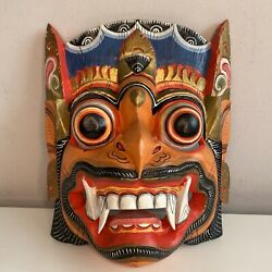 Dragon Mask Wooden Carved Chinese Oriental Decorative Painted From Usa Wall Art