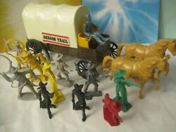 Tim Mee Vintage Frontier Covered Wagon Cowboys Horse Plastic Toy Soldiers