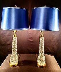 Pair Of 2 Waterford Fine Cut Crystal Table Lamp And Final - Perfect Condition