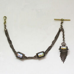 Rare Antique Sterling Silver And Painted Enamel Slide Pocket Watch Chain
