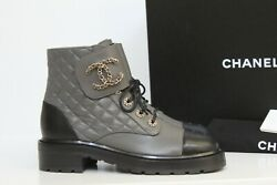 New Sz 8.5 / 39 Gray Leather Quilted Cc Chain Combat Lace Up Ankle Boot