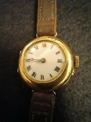 Rolex Wandd Antique Watch Extremely Rare 9ct Solid Gold Case And Buckle