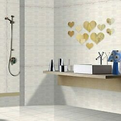 Acrylic Mirror Wall Decor Stickers 3D Love Heart Removable Art DIY Wall Decals