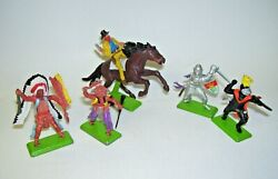 Made In England Britains Deetail Toy Soldiers Knights Cowboy Indians Set Of 5