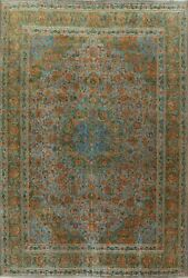 Antique Overdyed Floral Ardakan Hand-knotted Area Rug Evenly Low Pile Wool 10x12
