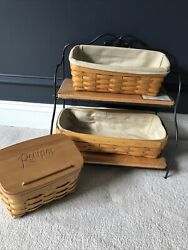 Lot Of Longaberger Baskets Recipe Box And Two Tiered Iron And Wood Stand