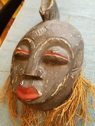 Folk Art Face Mask Carved Wood 10 x 6quot; used amp; Paint Loss Vtg Wall Hanging Party