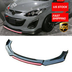 Fit For Mazda 2 3 5 Gloss Black+red Front Bumper Lip Splitter Under Panl Diffuer