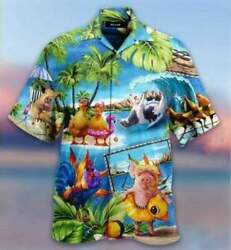 Hawaiian Aloha Shirts Stay Cool Duck Rooster Pig And Cow Full Size S-5xl