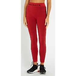 Nagnata Laya Houndstooth-trim Stretch-knit Leggings In Red Black Xs / S
