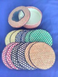 Vintage Straw Coaster Set And Storage Box, Interpur, 12 Colorful Hot Pads,