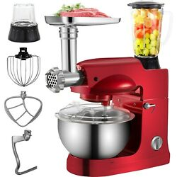 Electric Stand Mixer Meat Grinder 5qt Juice Blender Stainless Steel Bowl Red New