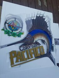 Pacifico Beer Stained Glass Sailfish Sign Life Preserver Tiki Beach Bar New