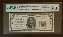 Fr. 1800-1 1929 Ty. 1 5 Ch 261 Natland039 Bank Note New Bedford Mass. Pmg 55