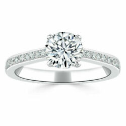 Round Cut 1.00 Ct Natural Diamond Engagement Ring Real 14k White Gold Size 5 6 7
