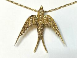 Victorian Gold Seed Pearl Swallow Pendant Necklace Ruby Eyes 18 18ct Chain