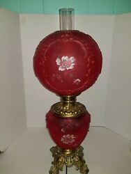 Consolidated Patterned Embossed Gwtw Ruby Red Satin Gone Wind Parlor Table Lamp