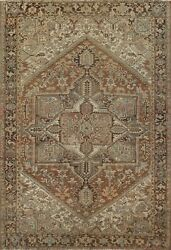 Antique Muted Geometric Heriz Area Rug Hand-knotted Wool Oriental Carpet 10'x12'