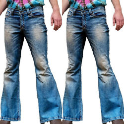 Retro Men Holiday Dance Party Slim Denim Bell Bottom Flared Pants Bootcut Jeans