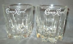 2 Two Crown Royal Canadian Whiskey Starburst Rocks Lowball Glasses Italy