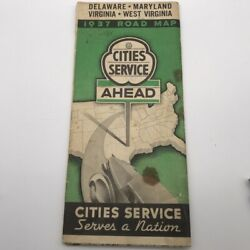 Vtg 1937 Road Map Cities Service Gasoline Oil Co Delaware Maryland West Virginia