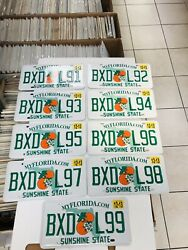 9 Florida License Plates Sunshine State Consecutive Numbers As Pictures Expired