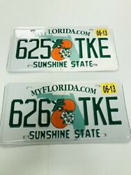 2 Florida License Plates Sunshine State Consecutive Numbers As Pictures Expired