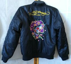 Ed Hardy Limited Edition Beautiful Ghost Bomber Jacket Size Xly-s Adult