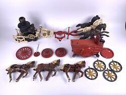 1970andrsquos Cast 3 Horse Iron Wind Up Horse Drawn Fire Engine Pumper Truck And Another