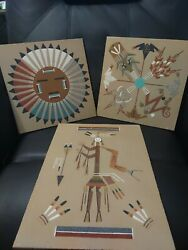 Navajo Sand Paintings Original With Signature 3 Qty