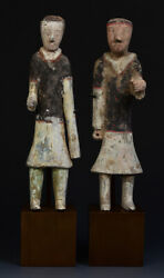 Han Dynasty, A Pair Of Antique Chinese Painted Pottery Groom Figures