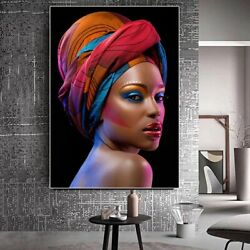 Black Nude African Women Red Lips Headband Portrait Canvas Painting Art Poster